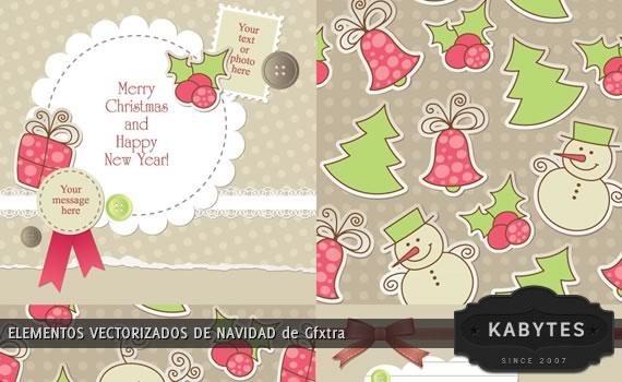 Vista previa de archivo con elementos vectorizados para navidad