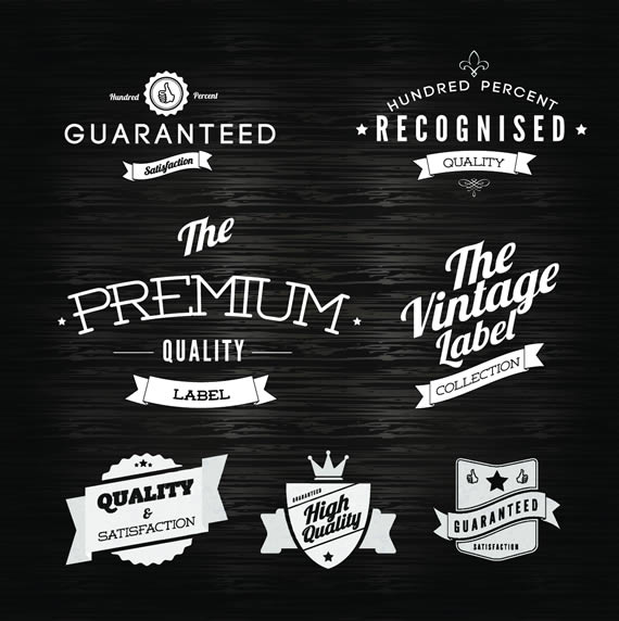 Vista previa de uno de los paquetes de emblemas y etiquetas estilo vintage