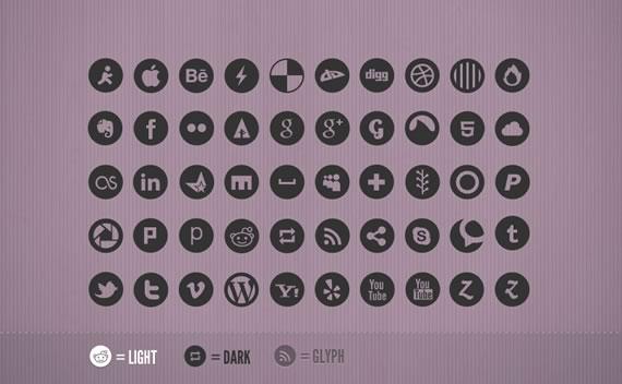 Vista previa de iconos sociales negros sobre fondo lila oscuro