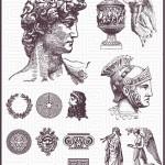 Elementos romanos: guardas, perfiles, estátuas, columnas y sellos.