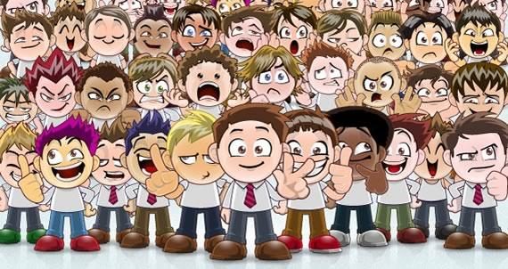 Vista previa de avatares vectorizados estilo manga