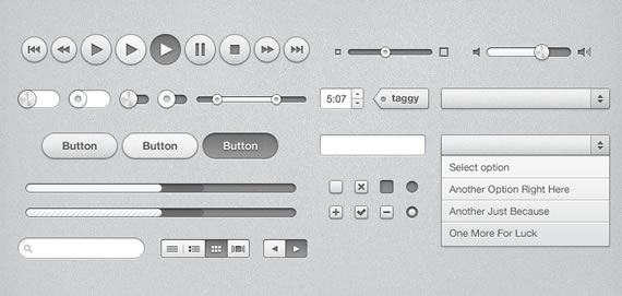Vista previa de la colección de elementos UI inspirados en iTunes
