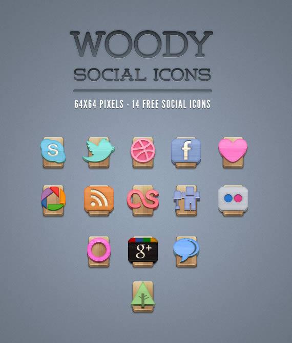 Vista previa de íconos sociales ubicados sobre maderas
