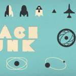 Muestra de iconos del espacio estilo retro