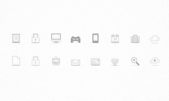 Vista previa de algunos de los íconos web en gris de Pixeden
