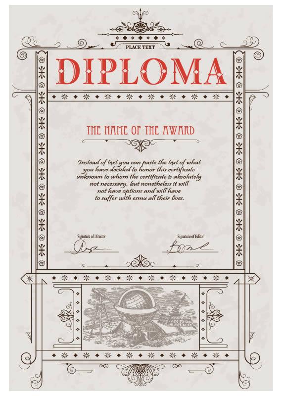 Vista previa de una de las cuatro plantillas de diplomas vectorizados