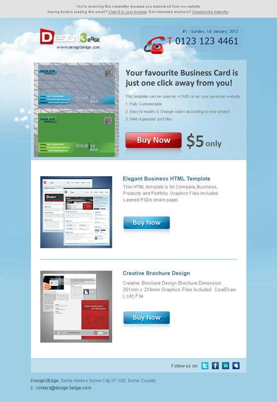 Vista previa de la plantilla para email creativa en PSD