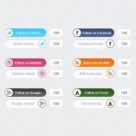 Botones anchos de las redes sociales con slider en PSD