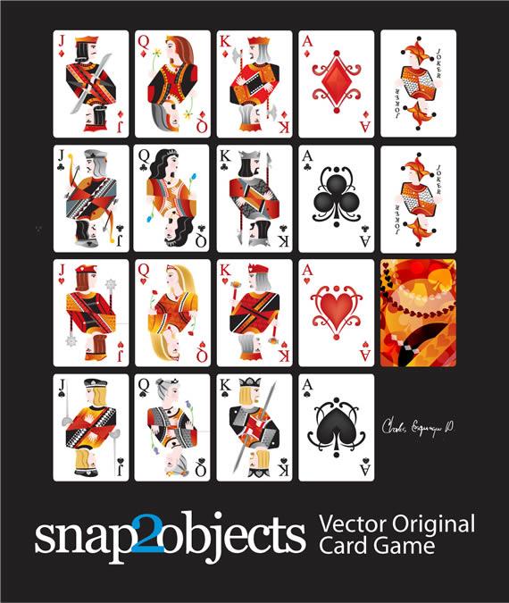 Vista previa de figuras de las 4 barajas vectorizadas