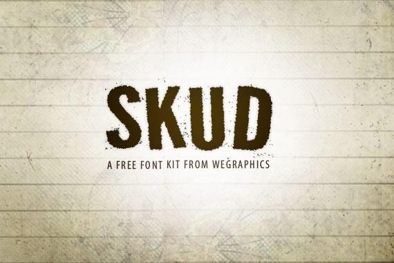 Vista previa de la fuente tipográfica Skud