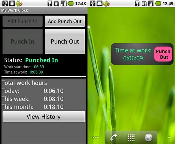 Cronómetro laboral en Android