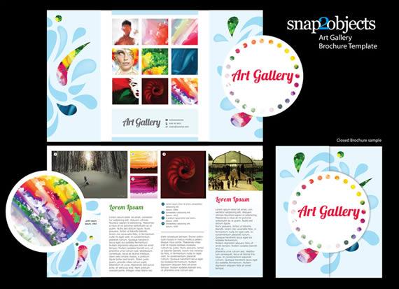 Vista previa de folleto vectorizado para muestra de arte