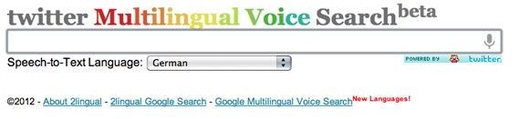 Vista previa de Twitter Multilingual Voice Search