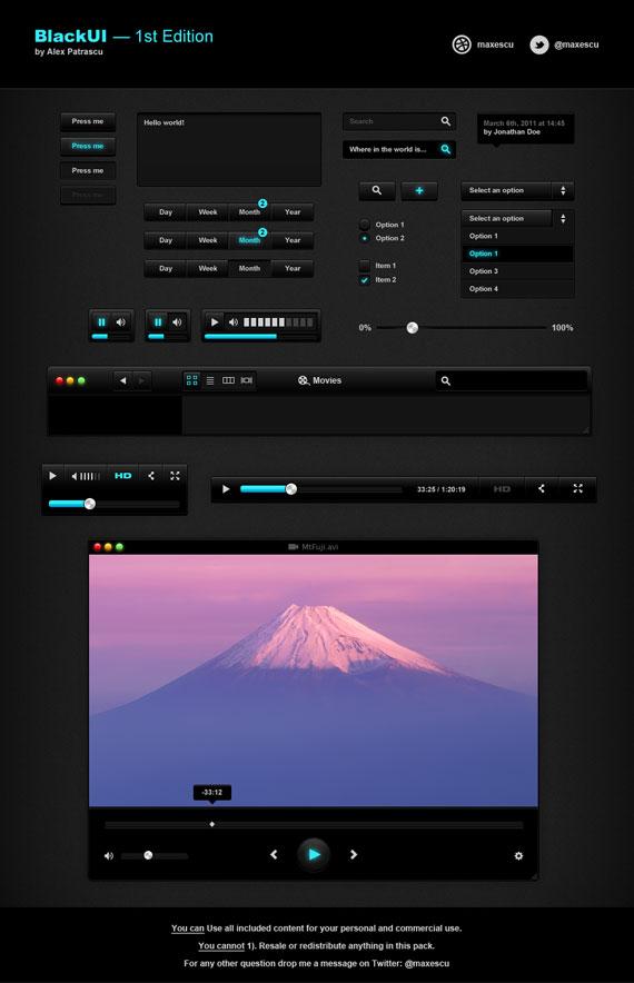 Vista previa de elementos UI en negro con detalles turquesa