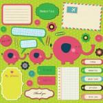 Elementos vectorizados con motivos infantiles