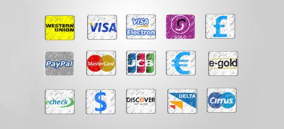 Iconos de pagos estilo sketchy