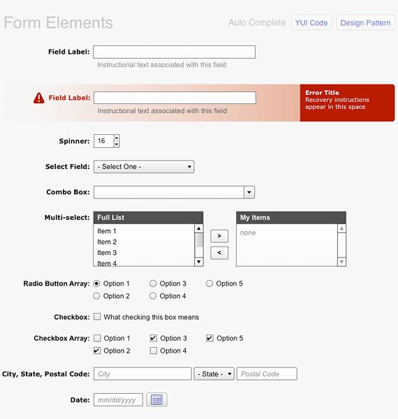 set de elementos para formularios web