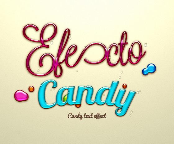 Vista previa de efecto textos de caramelo en PSD