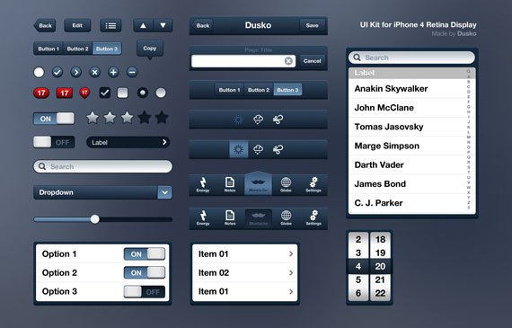 Vista previa de Elementos UI de iPhone 4
