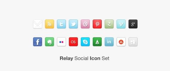 Vista previa de set de iconos sociales Relay