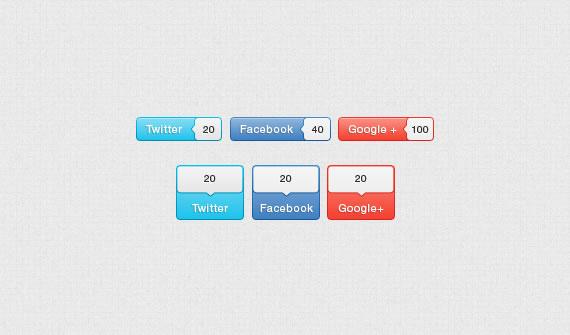 Vista previa de botones de redes sociales con contador