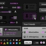 Vista previa de set de elementos UI con detalles púrpura