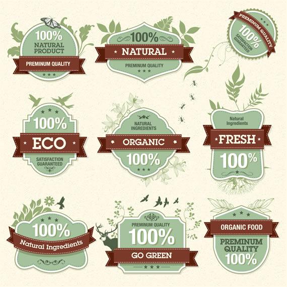 Vista previa de emblemas vectorizados estilo retro con decoraciones ecológicas
