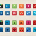 Vista previa de iconos sociales cuadrados con dos opciones de efectos