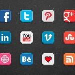Vista previa de iconos sociales estilo 8-bit