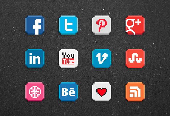 Sitio Del Día Picons Iconos De Redes Sociales Para: Iconos Sociales En 8-bit