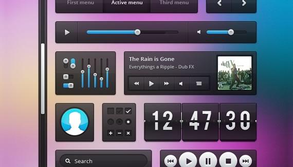 Vista previa de algunos elementos UI transparentes sobre fondo multicolor