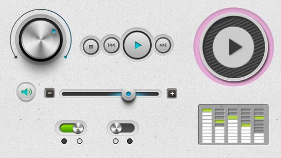 Vista previa de elementos UI para reproductor de audio