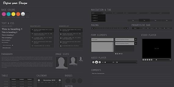 Vista previa de elementos UI para plataforma oscura