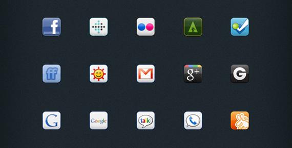 Sitio Del Día Picons Iconos De Redes Sociales Para: Iconos Sociales Cuadrados: Set Completo