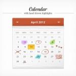 Calendario con elementos de marcación en PSD