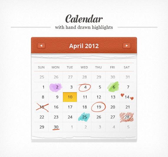 Vista previa de calendario en PSD