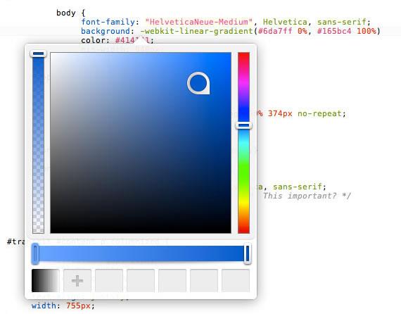 Selector de colores directamente en el editor