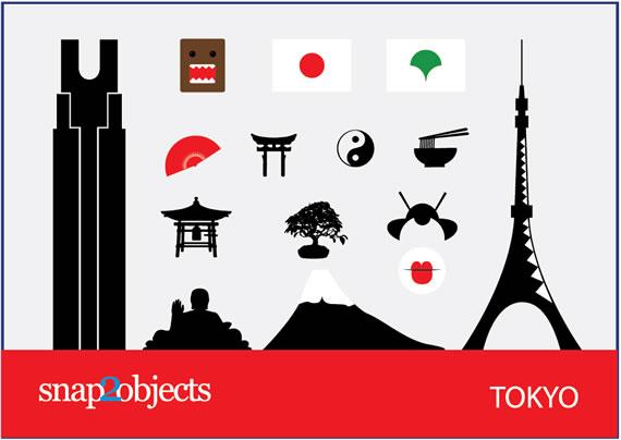 Vista previa de símbolos vectorizados de Tokyo