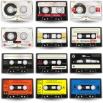 Vista previa de cassettes de audio en formato vector