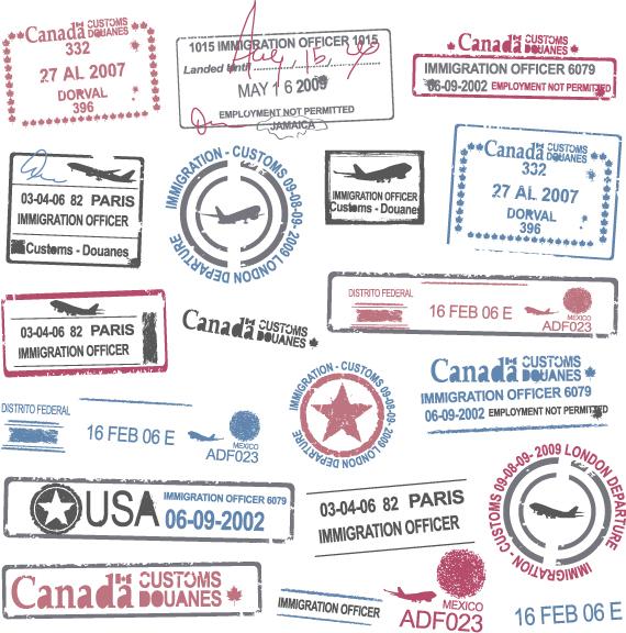 Vista previa de sellos postales vectorizados
