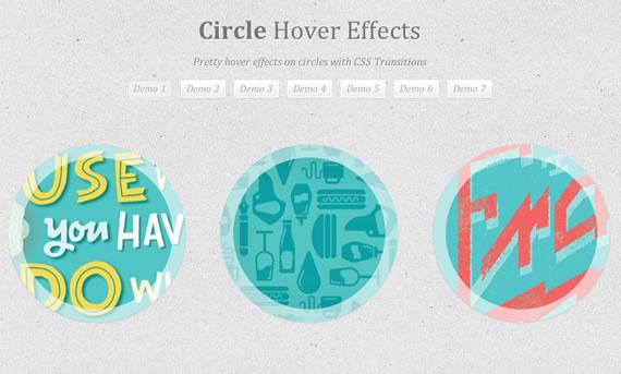 Vista previa de efecto hover sobre círculos con transiciones CSS