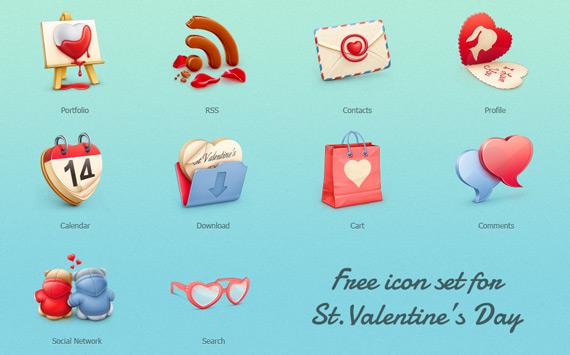 Vista previa de iconos de san valentin