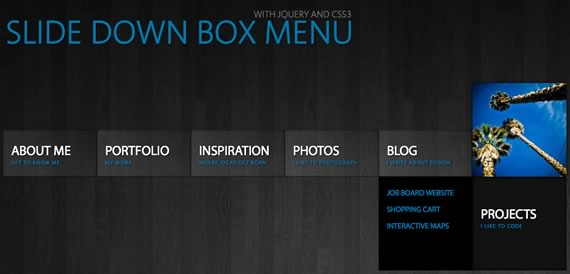 Vista previa de Slide Down Box Menu
