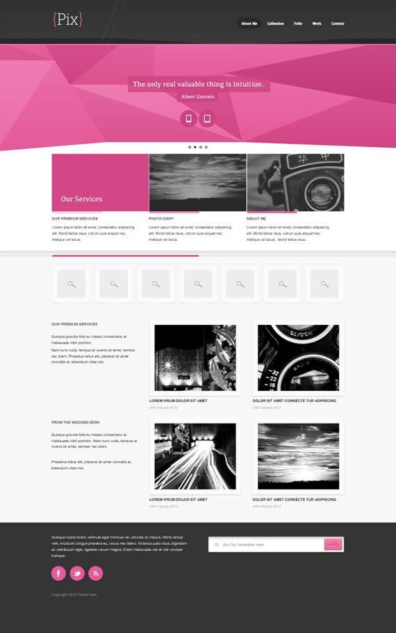 Vista previa de Pix, plantilla web en PSD.