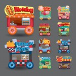 Vista previa de carros de comida rápida vectorizados.