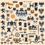 Colección de elementos heráldicos vectorizados