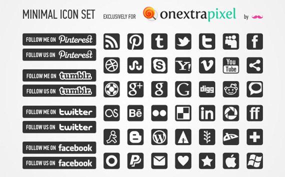 Iconos sociales en blanco y negro
