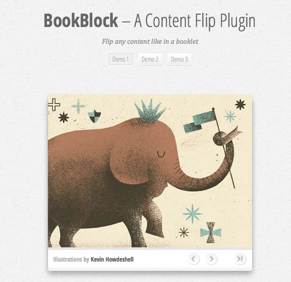 Vista previa de bookblock, slider estilo libro