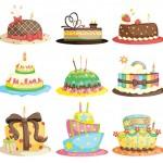 Tortas de cumpleaños vectorizadas