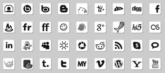 Iconos sociales en tres tonos diferentes